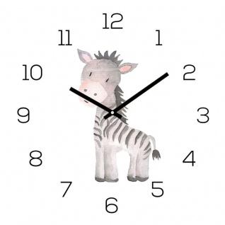 Wanduhr Zootiere 30x30cm Zebra Glas Kinder Uhr Glasbild Tiermotiv Wanddeko