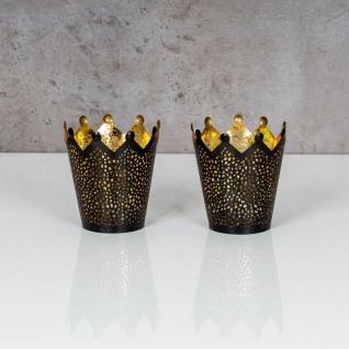 2er Set Teelichthalter Krone Schwarz Gold H11cm Metall Windlicht Kerzenhalter - Vorschau 2