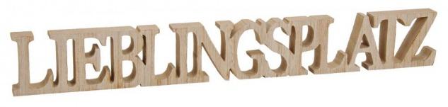 Buchstaben Lieblingsplatz 60x8x2, 5cm Holz Natur Braun Schriftzug