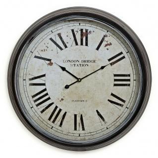 Wanduhr XXL 60cm Metall London - Nostalgie Großuhr Bahnhof Uhr römisch