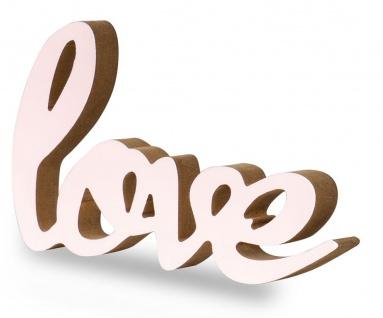 Schriftzug Love L22, 5cm Pastell Rosa Holz Tischdeko Deko Aufsteller Wohndeko