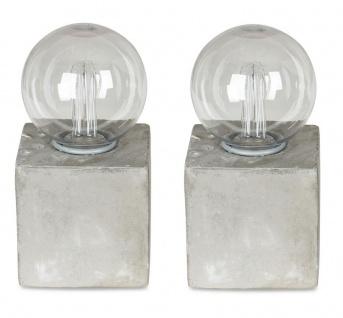 2er Set Tischleuchte 8x16cm LED Glühbirne Beton Tischlampe Deko Retro Tischdeko
