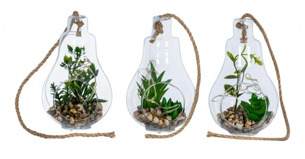 3er Set Glühbirnen Sukkulenten H12cm Glas Deko LED Lampe Kunstpflanze Grün