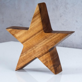 Stern Holzstern Akazie 15cm Akazienholz Braun Natur Deko Tischdeko Holzdeko - Vorschau 3
