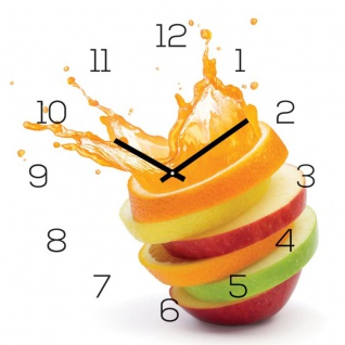 Wanduhr Alu-Dibond 30x30cm Uhr Alubild Orange Apfel Wasser Frucht Wanddeko