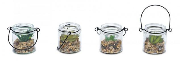 4er Set Sukkulenten Glas 6x7cm Pflanze Grün Tischdeko Kunstpflanze Deko - Vorschau 2