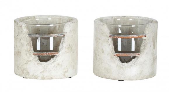 2er Set Windlicht 13x12cm Beton Grau Rost Teelichthalter Kerzen Deko Industrial