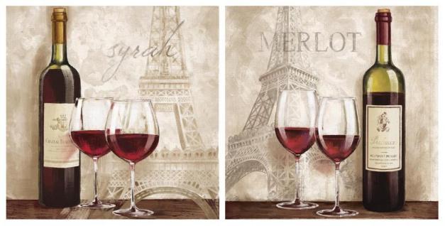 levandeo Glasbild 2er Set je 30x30cm Wandbild Glas Wein Paris Küchendeko