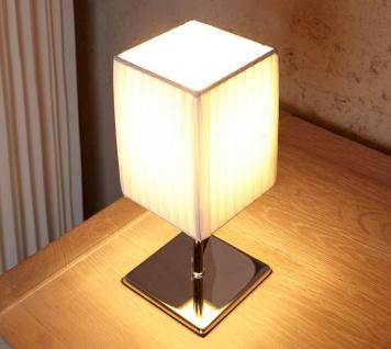 Nacht-Tischlampe Lampe in weiß aus Latex - Leuchte Licht Chromgestell - Vorschau 2