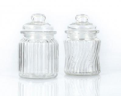 2tlg. Glas-Vorratsdosenset Gläser Dosen mit Glasdeckel Gummipfropfen
