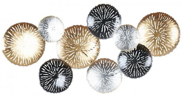 3D Wandbild 115x56cm Ringe Kreise Metall Gold Schwarz Deko Teller Wanddeko Design