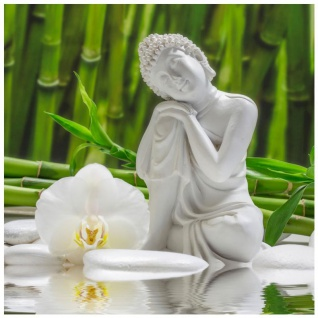 levandeo Glasbild 30x30cm Weiße Orchidee Bambus Buddha Wandbild Wanddeko