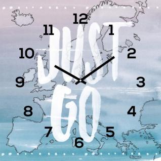 levandeo Wanduhr Glas 30x30cm Glasuhr Uhr Glasbild Travel Just Go Urlaub Reisen