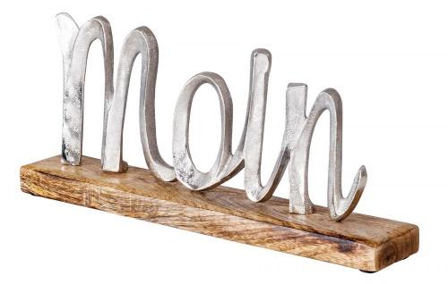Schriftzug Moin L33cm Metall Silber Mango Holz Tischdeko Deko Aufsteller
