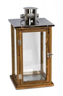2er Set Holzlaternen Windlichter Hochwertig Holz Metall Glas braun - Vorschau 3