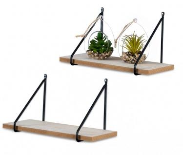 2er Set Wandregal Regal 30x15cm Metall Schwarz Holz MDF Natur Modern Industrie