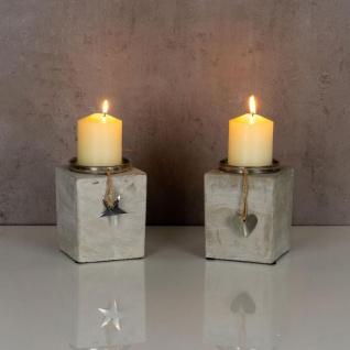 2er Set Kerzenständer Beton Je 13cm Hoch Kerzenleuchter Grau Kerzenhalter Deko - Vorschau 5