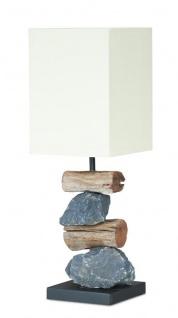 Lampe Tischlampe H45cm Braun Holz Holzlampe Tischleuchte Stein Natur Unikat Deko