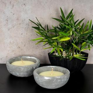 2er Set Kerze 17 x 17cm Kerzenwachs im Zement Topf Beton Grau Weiß Kerzen Deko - Vorschau 4