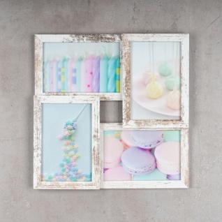 levandeo Bilderrahmen Collage 28x28cm 4 Fotos 10x15 Shabby Chic MDF Holz Glas - Vorschau 2