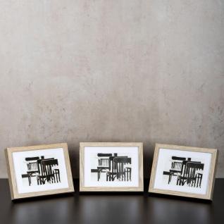 levandeo 3er Set Bilderrahmen 13x18cm Eiche gekälkt Holz MDF Glasscheiben