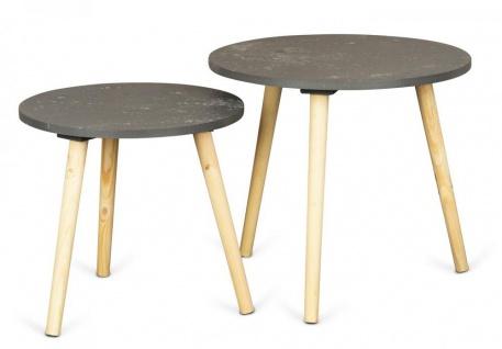 2er Set Beistelltisch Beton Optik Holz 2 Größen 40 und 48 cm rund Couchtisch
