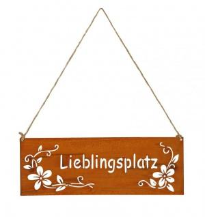 Schild Lieblingsplatz 25x9cm Außen Gartendeko Rost Braun Blumen Metall Türschild