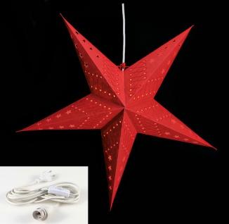 Leuchtstern 5 Zacken rot 60cm Papiertstern Weihnachtsstern inkl Kabel