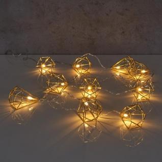 10er Lichterkette LED Metall Gold Diamant Licht Beleuchtung Deko Industrial - Vorschau 5