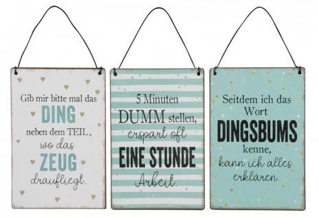 3er Set Blechschilder H15cm Lustige Sprüche Bunt Wandbild Wanddeko Deko Schilder