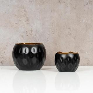 2er Set Teelichthalter Schwarz Gold Höhe 7cm und 10cm Alu Kerzenhalter Deko - Vorschau 2