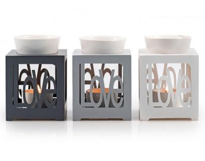 Duftlampe grau/ silber Love Keramik Öllampe Aromalampe Aromaspender - Vorschau 2
