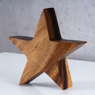 Stern Holzstern Akazie 15cm Akazienholz Braun Natur Deko Tischdeko Holzdeko - Vorschau 2