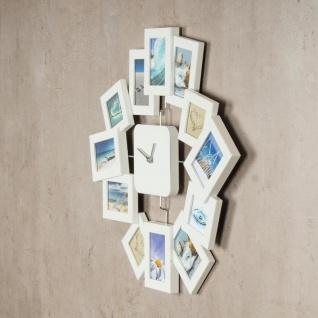 Wanduhr 40, 5x42, 5cm Weiß Bilderrahmen Foto-Uhr 12 Fotos Fotogalerie - Vorschau 4