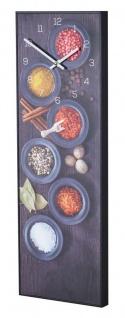 Wanduhr 20x60cm Uhr PVC Rahmen Schwarz Gewürze Küche Wanddeko Wandbild Bild