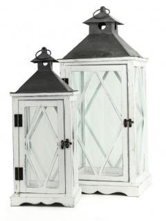 2tlg. Großes Laternen Set Holz Weiß Metall Glas Shabby Chic Vintage Garten Deko