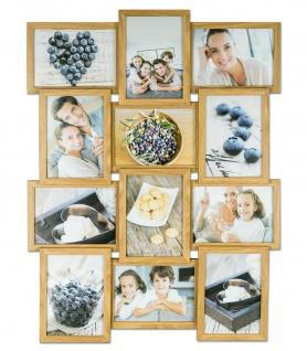 levandeo Bilderrahmen Collage 51x68cm 12 Fotos 13x18 Eiche MDF Holz Glasscheiben