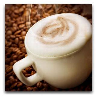 Leinwandbild 30x30cm Kaffee Bohnen cappuccino Espresso Latte Wandbild