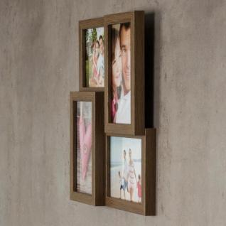 levandeo Bilderrahmen Collage 28x28cm 4 Fotos 10x15 Nussbaum MDF Holz Glas - Vorschau 4