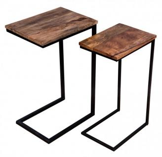 2er Set Beistelltisch Mango Natur Eisen Schwarz Design Holz Couchtisch Deko