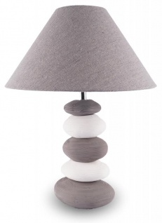 Lampe H x B: 42x30cm Grau Weiß Steinoptik Tischleuchte Design