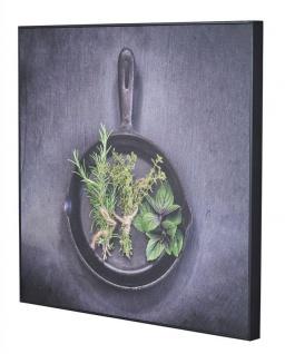 Wandbild 50x50cm PVC Rahmen Schwarz Küche Kräuter Pfanne Wanddeko Bild Deko