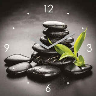 Wanduhr Glas 30x30cm ZEN Steine Grün Glasuhr Uhr Glasbild Yoga Wellness Deko