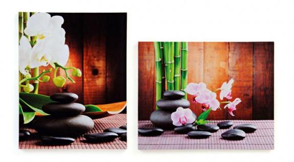 2er Set Wandbilder Orchideen Feng Shui Wellness Leinwand Bild Bambus
