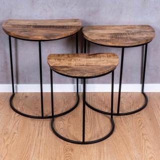 3er Set halbrunde Couchtische Mango Natur Eisen Schwarz Design Holz Beistelltisch - Vorschau 4