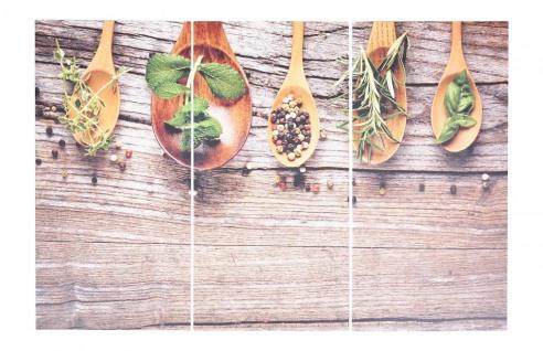 3er Set Wandbild 90x60cm Aluminium Dibond Kräuter Gewürze Küche Deko Wanddeko