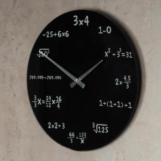 Wanduhr Glas 35cm rund Mathe Mathematik schwarz Design Glasuhr