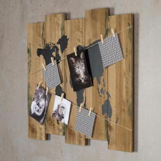 Wandbild Weltkarte 60x53cm Holz Braun 10 Klammern Bilderrahmen Schild - Vorschau 2
