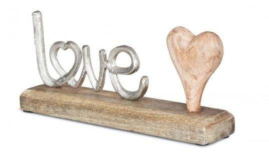 Schriftzug Love L25, 5cm Metall Silber Mango Holz Tischdeko Deko Aufsteller Liebe