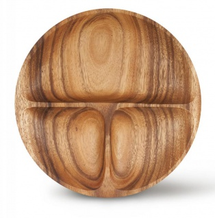 Teller 23cm rund Snacks Holz Akazienholz Holzschale Snackschale Dip Natur